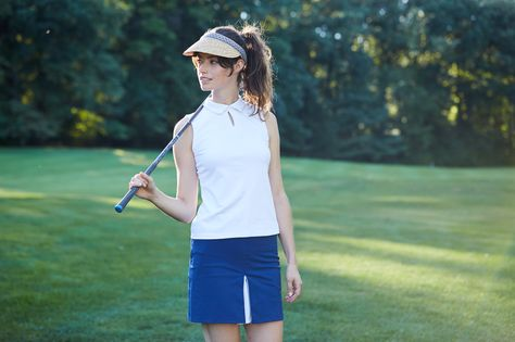 Golf fashion from Dagny Scout. FW16 collared golf shell and peekaboo pleat skirt with built in short. Find it at www.dagnyscout.com
