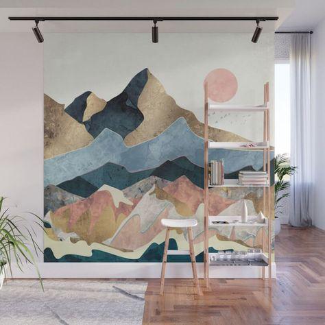 Blue Pinks Beige Desert Mountain Wall Art Peinture Murale