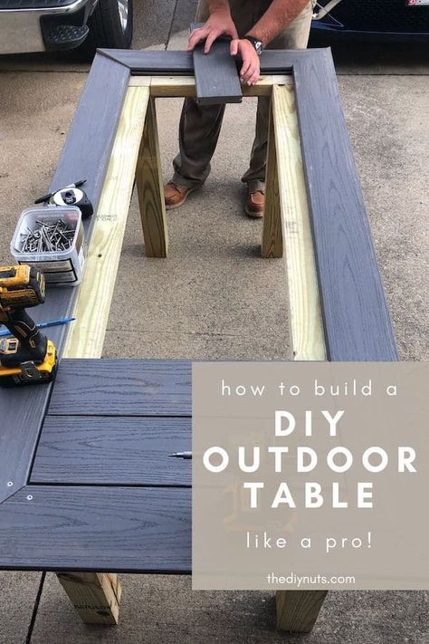 Use composite decking to build outdoor furniture. This step-by-step tutorial will explain how to use composite decking to build a table for your outdoor dining space. Resin Patio Furniture, Backyard Furniture, Diy Outdoor Furniture, Backyard Patio, Patio Stone, Flagstone Patio, Concrete Patio, Building Furniture, Patio Decks