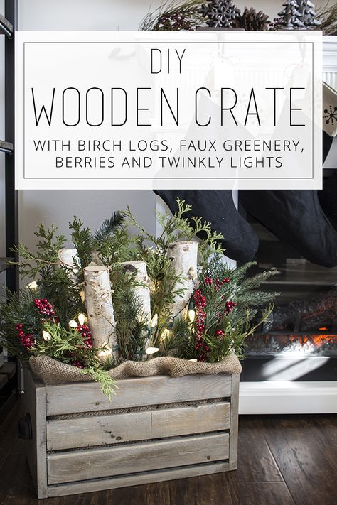 DIY Wooden Crate with Logs, Greenery and Lights - simple porch holiday decor ide. DIY Wooden Crate with Logs, Greenery and Lights - simple porch holiday decor idea Farmhouse Christmas Decor, Rustic Christmas, Christmas Home, Christmas Holidays, Christmas Ornaments, Christmas Greenery, Porch Ideas For Christmas, Christmas Front Porches, Wooden Crates Christmas