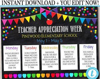 Rainbow Chalkboard Confetti Theme Teacher Appreciation Printable Schedule Weekly Events Editable Templa Appreciation Printable Teacher Appreciation Apple Theme