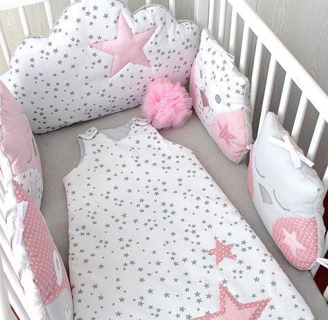 Tour de lit bébé fille, hibou et nuage, tons roses et gris ...