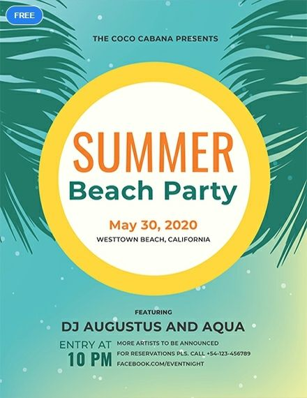 Free Beach Party Flyer Sample Template Word Doc Psd Apple Mac Pages Illustrator Publisher Party Flyer Flyer Template Free Flyer Templates
