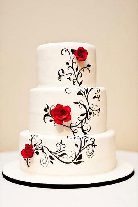 Risultati immagini per red black and white wedding cakes