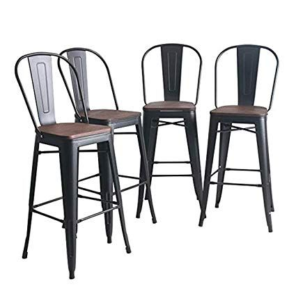 Amazon Com Yongqiang Metal Barstools Set Of 4 Indoor Outdoor Bar Stools High Back Dining Chair Count Metal Bar Stools Outdoor Bar Stools Bar Stools With Backs