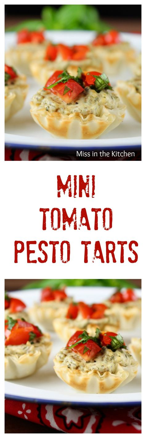 Mini Tomato Pesto Tarts are a great appetizer or parties, barbecues and get togethers! From MissintheKitchen.com #BBQBites #ad