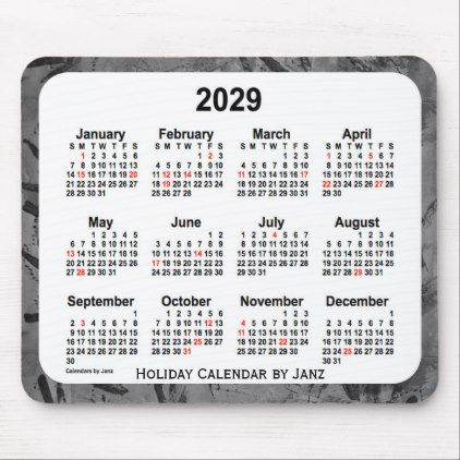 2029 Black Holiday Art Calendar By Janz Mouse Pad Calendars 2019