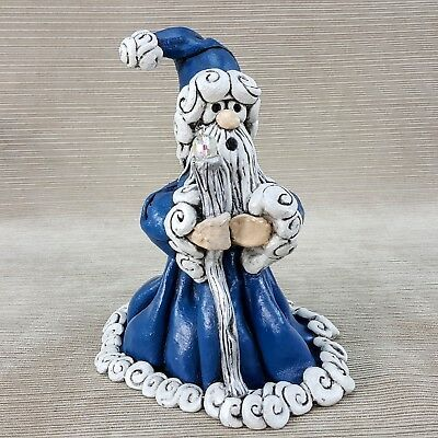 Hand Sculpted Wizard with Crystal Ball Figurine in Polymer Clay