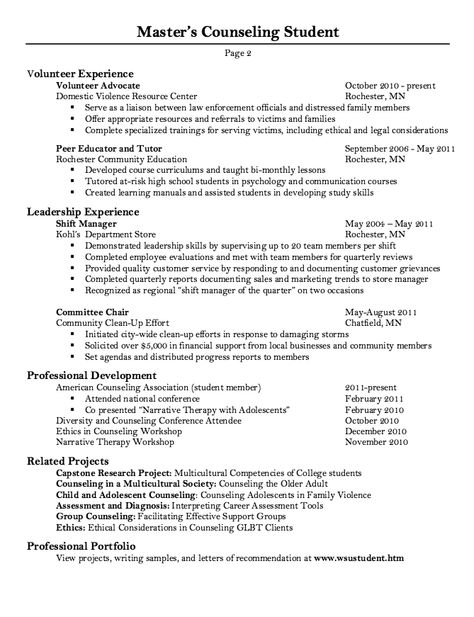 Master Counseling Student Resume Sample -    resumesdesign - produce clerk resume