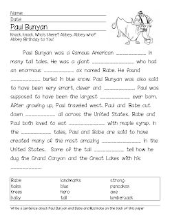 Folk Tale Paul Bunyan Cloze Activity | Readers Workshop | Cloze