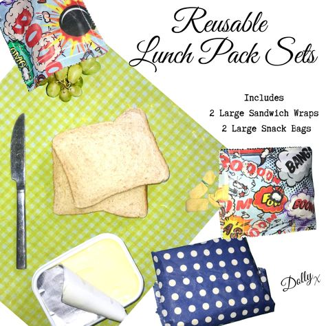 Our #Vegan, #SOYFREE #reusable lunch pack sets created from out fabric remnants are the perfect way to eliminte single use plastic. £15 Free UK Shipping #sustainableliving #eco #makethechange #noplanetB #reducereuserecycle #doyourbit #veganfriendly #ecomamma #kidspackedlunches