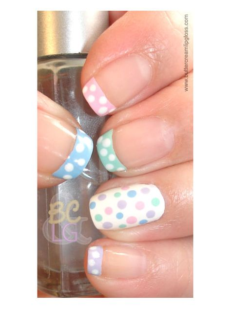 Dotty French mani #nails http://www.ivillage.com/easter-nail-art-nail-designs/5-a-526787#