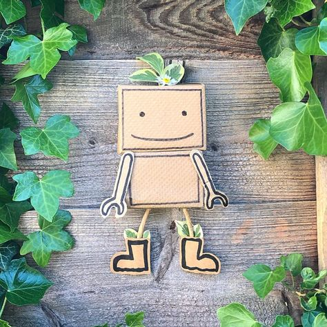 """Natalie 🐾 on Instagram: """"Meet Daisy our little friendly robot! 🍃 We made Daisy with items from our recycling, some leaves and a daisy from our garden. Her head and…"""""""