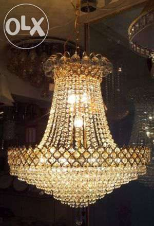 Electrifying Gold Finish Crystal Chandelier with 12 Lights ...