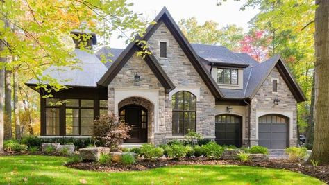 25 Beautiful Stone House Design Ideas on A Budget - Building & Architecture - Design Exterior, Exterior House Colors, Modern Exterior, Modern Garage, Garage Exterior, Wall Exterior, Siding Colors, Exterior Windows, Tudor House Exterior
