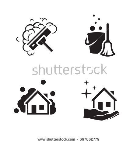House Cleaning Services Vector Logo Black Icon On A White Background Buy This Vector On Shutters Cleaning Logo Cleaning Service Logo Cleaning Business Cards