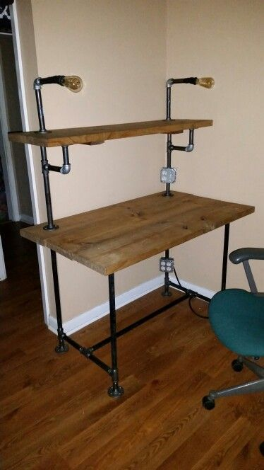 Black Pipe Desk With Built In Lights And Outlet I Did That Awesome Tips Pinterest Pipes