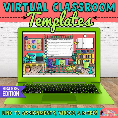 Try middle school virtual classroom templates to organize your distance learning plans quickly! Middle School Classroom, Middle School Science, Math Classroom, Classroom Ideas, Google Classroom, High School, Online Middle School, Classroom Tools, Classroom Posters