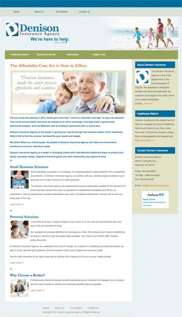 Healthcare Reform Solutions - Denison Insurance Agency. Customized WordPress theme, site development, search engine optimization, and submission. Design by Sue England at http://www.senglanddesign.com.
