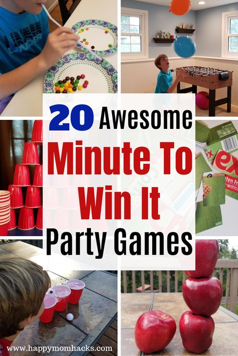 20 Unique Minute to Win It Party Games for Kids. Easy & quick games that are perfect for classrooms, birthday … Family Games To Play, Family Games Indoor, Indoor Games, Indoor Activities, Kids Party Games Indoor, Family Party Games, Rainy Day Activities For Kids, Fun Games For Kids, Minute To Win It Games For Adults