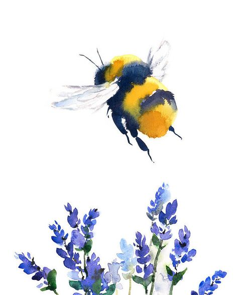 Bumblebee by Maria Stezhko. You can pet thesen Bumblebee by Maria Stezhko. Art Watercolor, Watercolor Illustration, Watercolor Flowers, Watercolor Animals, Simple Watercolor, Watercolor Landscape, Watercolor Background, Bee Illustration, Butterfly Background