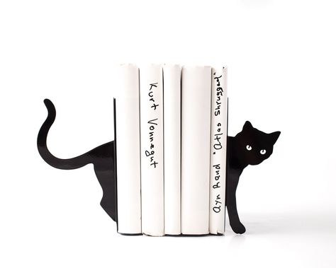 A personal favorite from my Etsy shop https://www.etsy.com/listing/244626724/metal-bookends-cat-and-books-functional