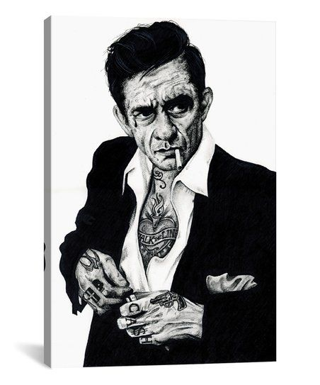 Icanvas Inked Ikons Johnny Cash Wrapped Canvas Zulily Johnny Cash Tattoo Johnny Cash Painting Prints