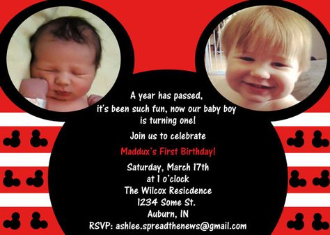 Mickey Mouse 1st Birthday Invite By SpreadTheNews On Etsy 1000