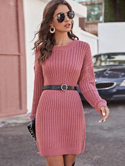 Knitting Midi Dress Warm Women Knitted Mid-calf O-neck Dresses Bodycon Dress