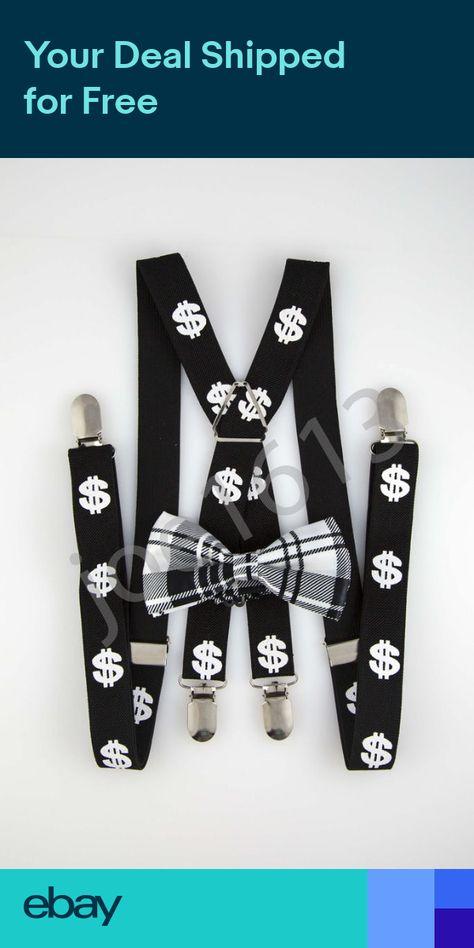 White Dollar Sign Black Mens Adult Suspender Elastic X Back Adjustable SD08