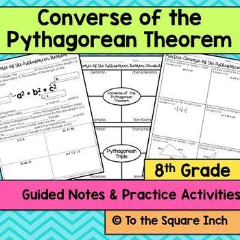 Converse of the Pythagorean Theorem Notes | 6th Grade Math