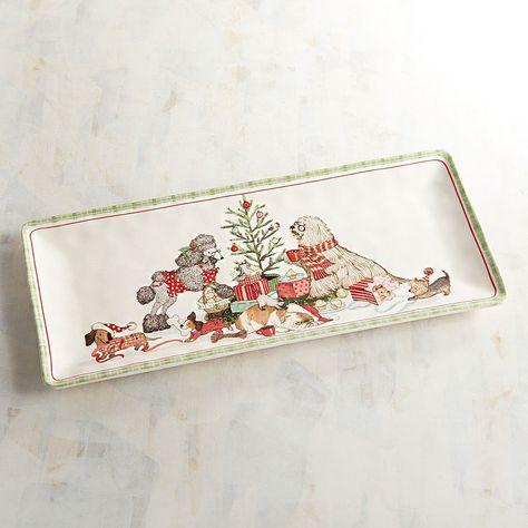 Christmas Bowls And Platters.Park Avenue Puppies Christmas Morning Platter Serveware
