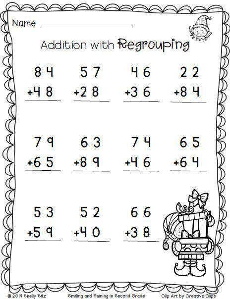 Christmas Math Addition With Regrouping Free 2nd Grade Math Worksheets On Matematika Kelas Dua Matematika Kelas Satu Lembar Kerja Matematika