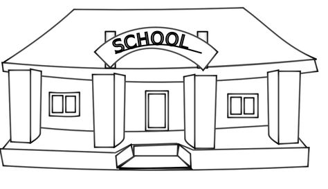 Clip Art Black And White Info Netalloy School Building Black White Line Art Tattoo Tatoo Svg School Coloring Pages Coloring Pages School Pictures