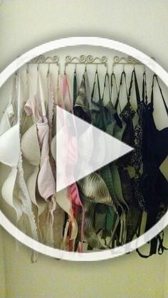 Quick and easy bra storage. I just used bathroom hooks hung behind the closet door. Very convenient and my husband no longer has to put up with my bras hanging everywhere!!!