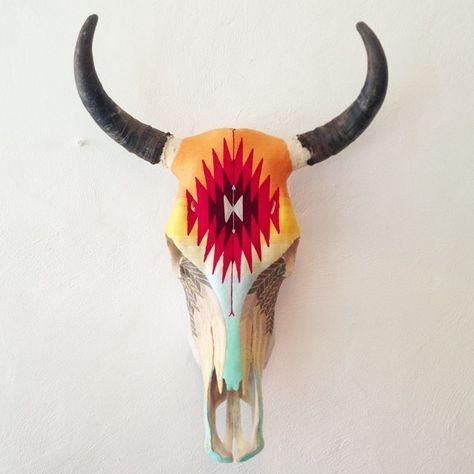 Huichol #art Yarn Painted Skull #Sayulita Red Dusk