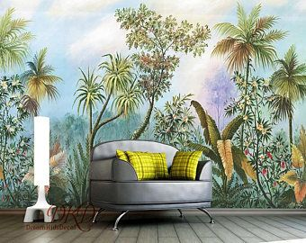 Tropical Wallpaper Palm Tree Leave Red White Flower Wall Decor