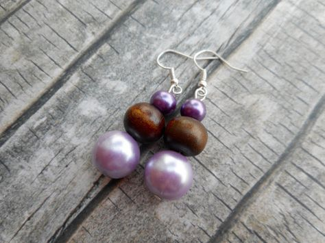 Dangling brown purple beaded earrings by JHFWBeadsAndFindings on #Etsy #Jewelry #jewelery