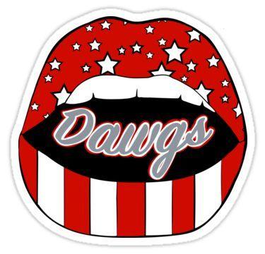 'Dawg Lips' Sticker by LindseyL Lips Painting, Lip Logo, Fb Banner, University Of Georgia, Dream School, Red Aesthetic, Cool Wallpaper, Sticker Design, Mascaras