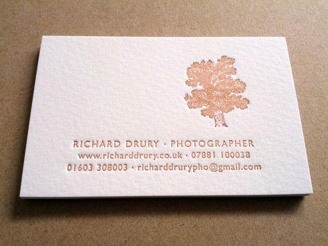 Letterpress business cards for photographer Richard Drury Design - letterpress business card