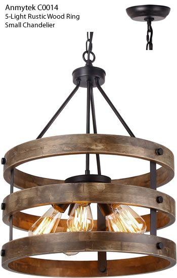 Anmytek C0014 5 Light Rustic Wood Ring Chandelier Small Rustic
