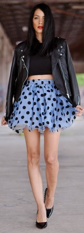 Motorcycle Jacket + Black Crop Top + A line Print Skirt + Pointed Pumps