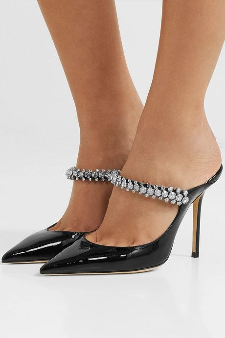 Bing 100 Crystal Embellished Patent Leather Mules | Fashion