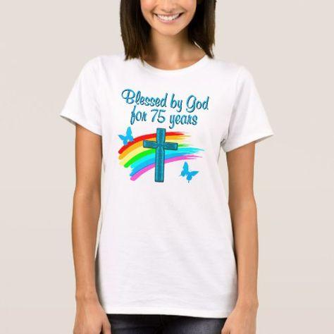 PRETTY BLUE 75TH BIRTHDAY CHRISTIAN DESIGN T Shirt