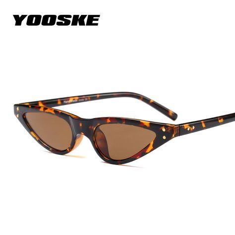 fc5638c2aed3 YOOSKE Cat Eye Sunglasses Women Small Triangle Eyeglasses Vintage Stylish Cateye  Sun Glasses Female UV400 Glasses 2018 Gifts