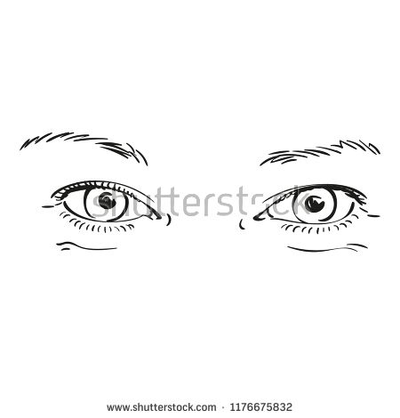 Hand Drawn Beautiful Eyes Isolated On White Background Vector
