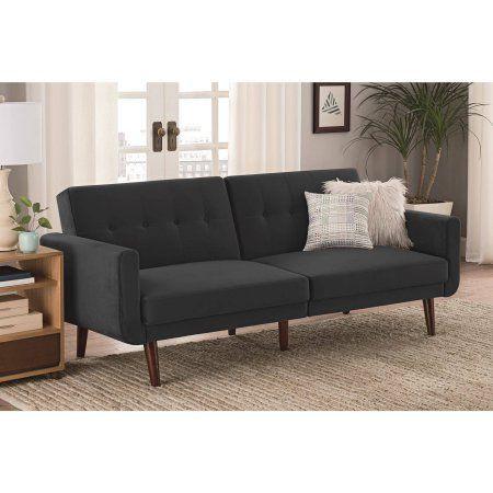 Better Homes Gardens Nola Sofa Bed Gray Velvet Walmart Com Modern Futon Futon Sofa Futon Living Room
