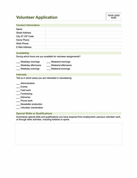 Sample Volunteer application Form | Collection of Everyday Word ...