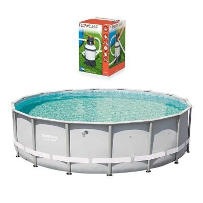 Bestway 16 Ft Round 48 In D Power Steel Pro Frame Hard Sided Pool And Flowclear Sand Filter Pump 13429 Bw 58496e Bw The Home Depot Bestway Above Ground Swimming Pools In Ground Pools