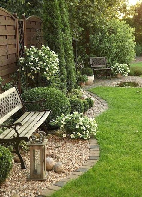 Bench With Flower Bed And Bench Front Yard Landscaping Design